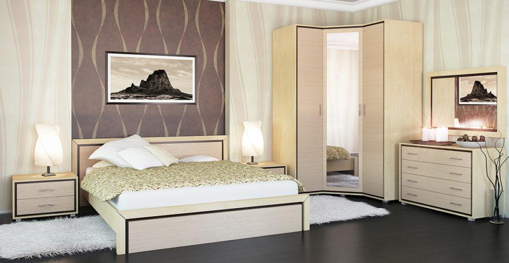 Угловой шкаф с зеркалом в интерьере спальной
