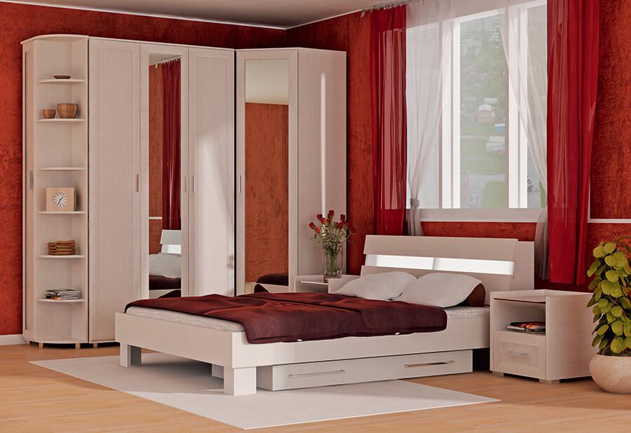 Спальный гарнитур с распашным угловым шкафом