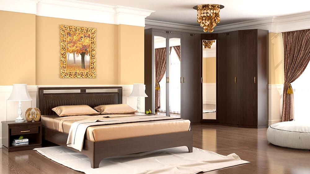 Угловой мебельный гарнитур для спальной с зеркалом