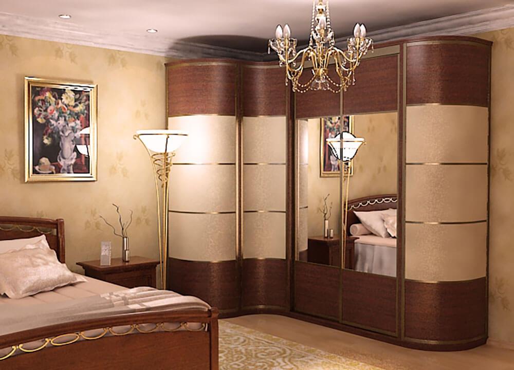 Радиусный шкаф купе в интерьере спальной