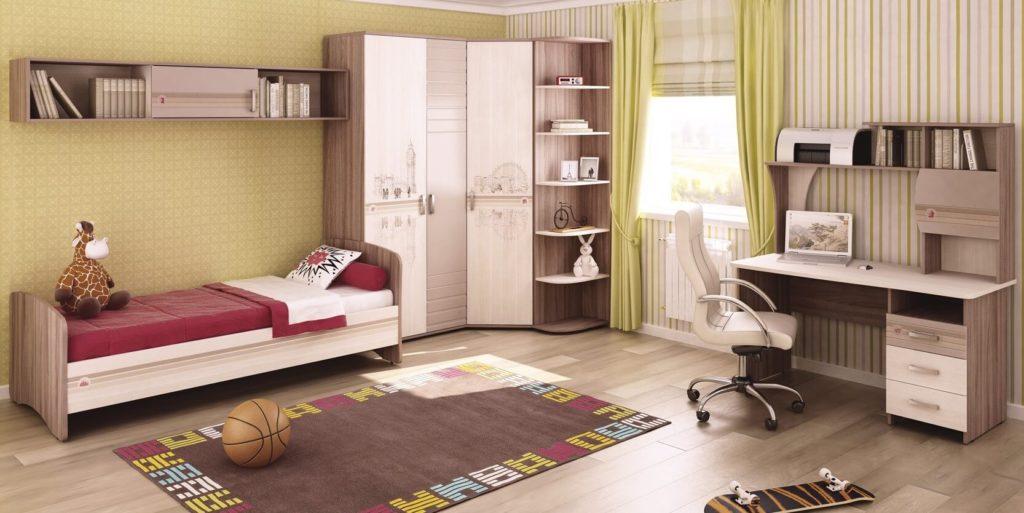 Интерьер детской комнаты с угловым шкафом