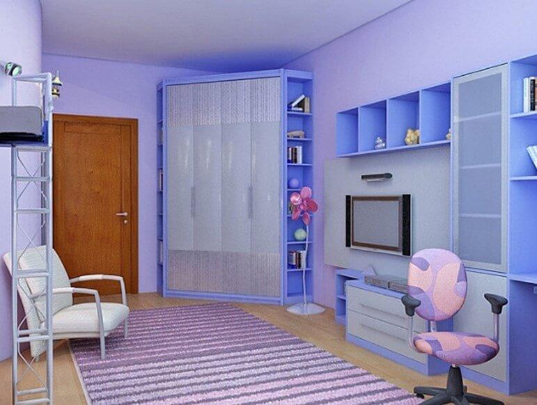 Фото углового шкафа со складной системой открытия дверей в интерьере детской комнаты
