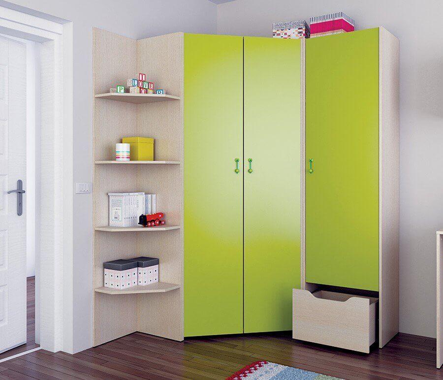 Угловой детский шкаф с распашными дверьми