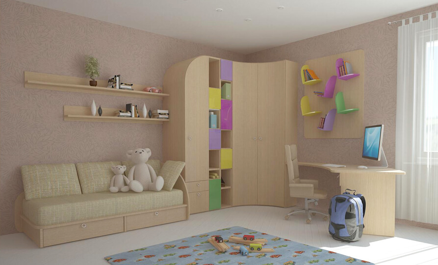 Детская комната с угловым шкафом и диваном