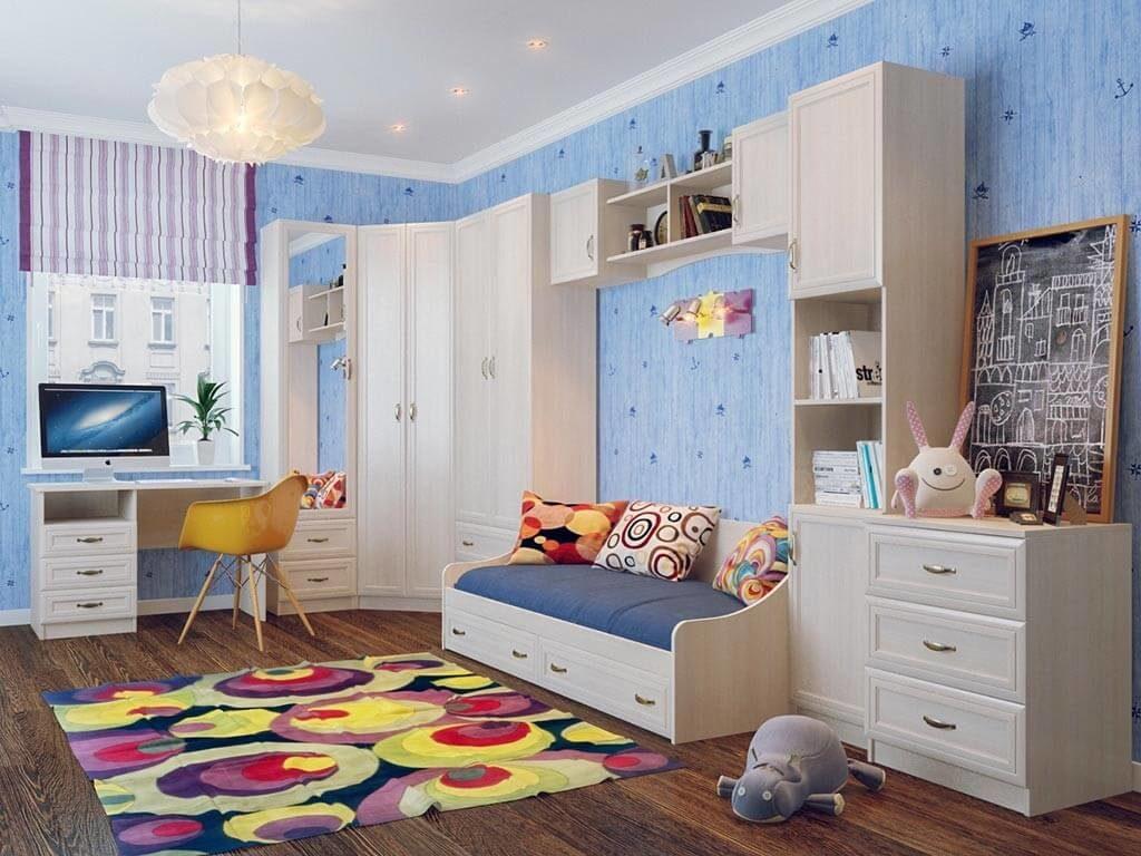 Фото углового мебельного комплекса в детскую