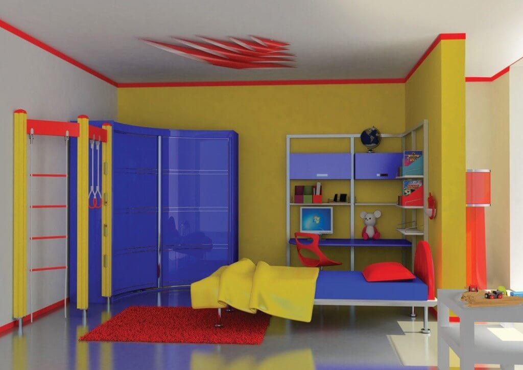 Фото детской комнаты в ярких контрастных цветах с угловым шкафом с глянцевым фасадом