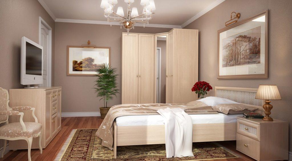 Угловой шкаф с зеркалом в интерьере спальни
