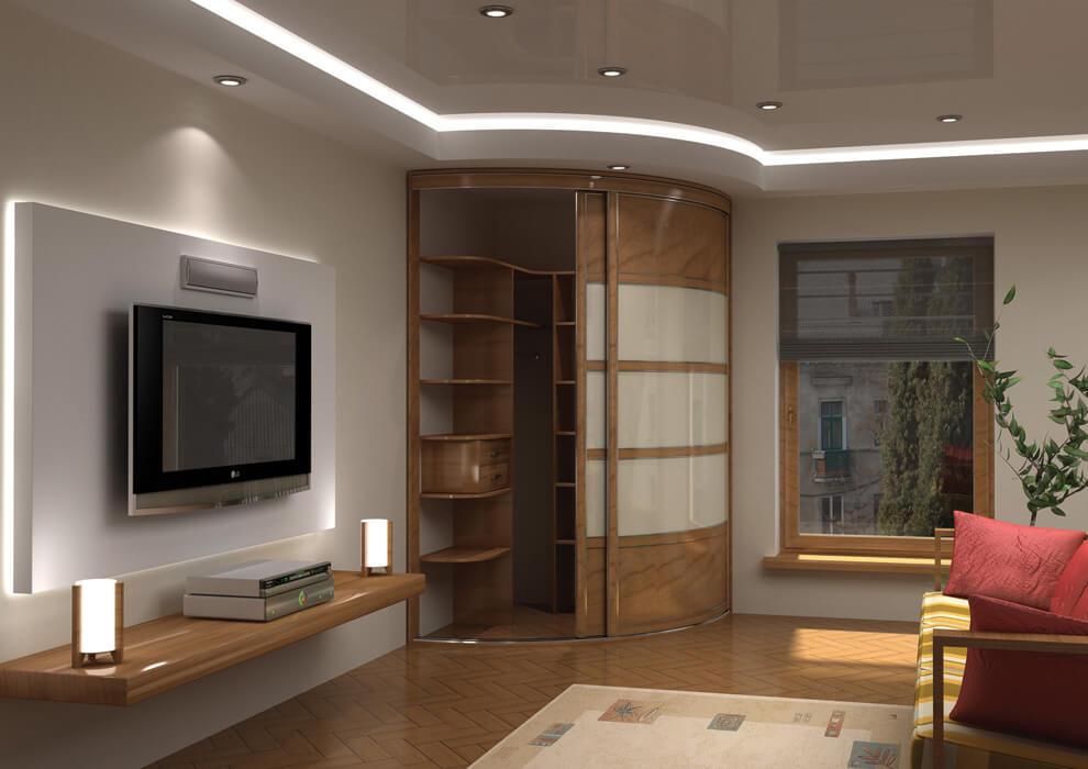 Радиусный встроенный шкаф купе в гостиной