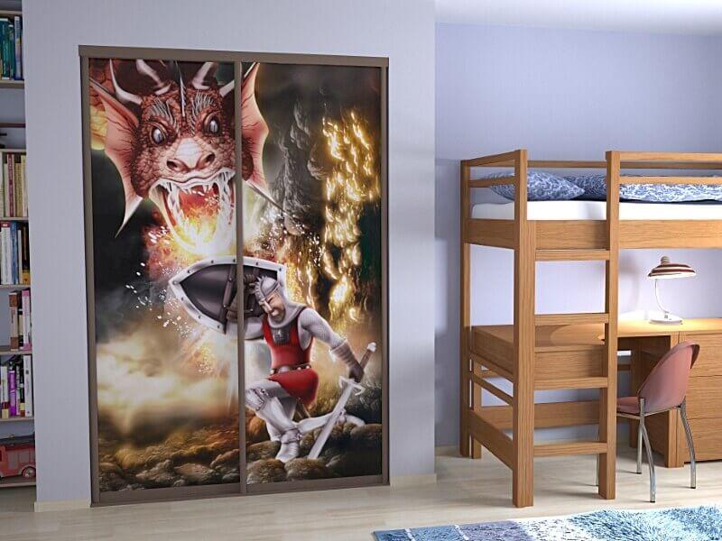 Шкаф встроенный в нишу в стене в детской спальне
