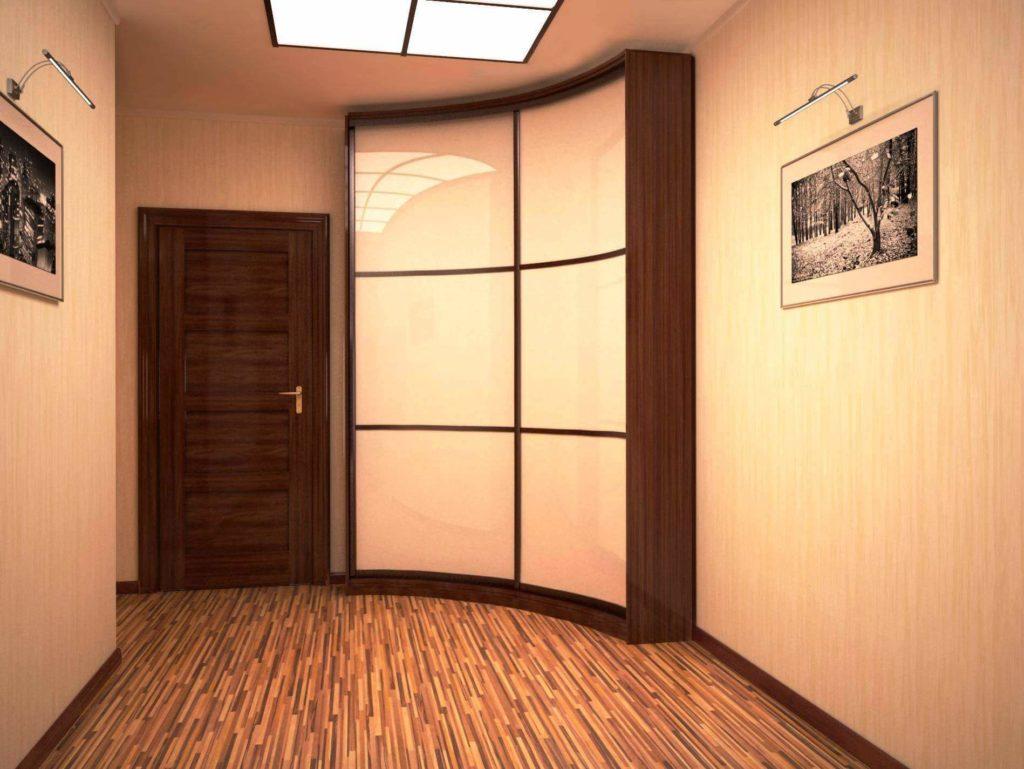 Угловой встроенный шкаф с радиусным фасадом