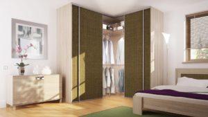 Угловой встроенный шкаф в спальне