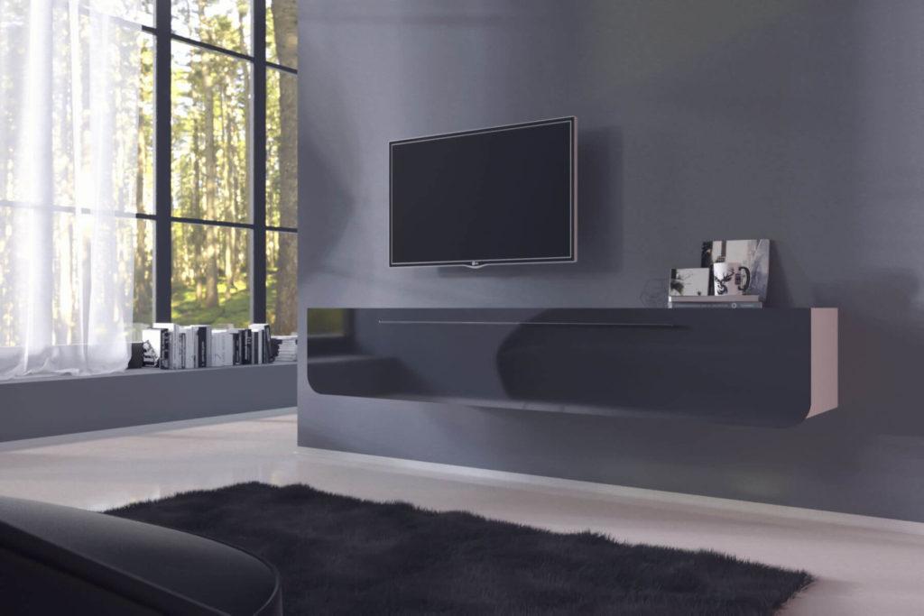 Длинная подвесная ТВ тумба в гостиной