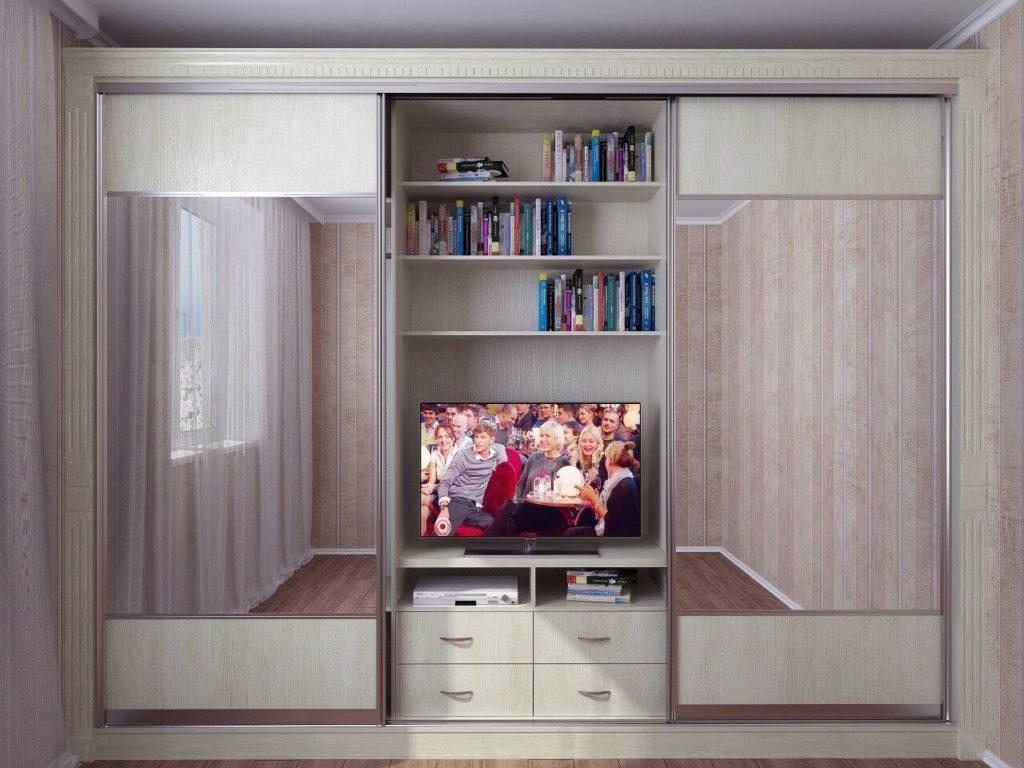 Шкаф купе с нишей под телевизор в гостиной