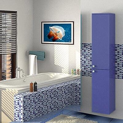 Фото настенного навесного пенала в ванной комнате