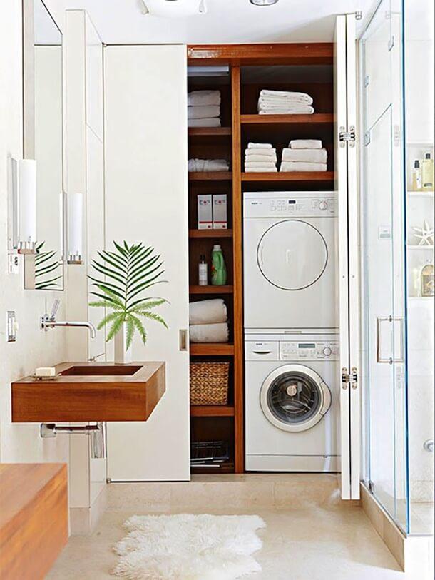 Фото встроенного шкафа со стиральной машинкой в ванной
