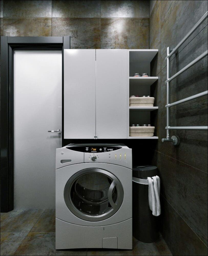 Шкаф над стиральной машиной в ванной