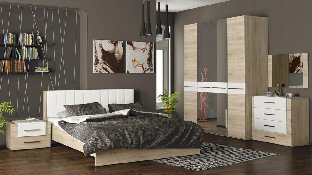 Шкаф с зеркалом в интерьере спальни