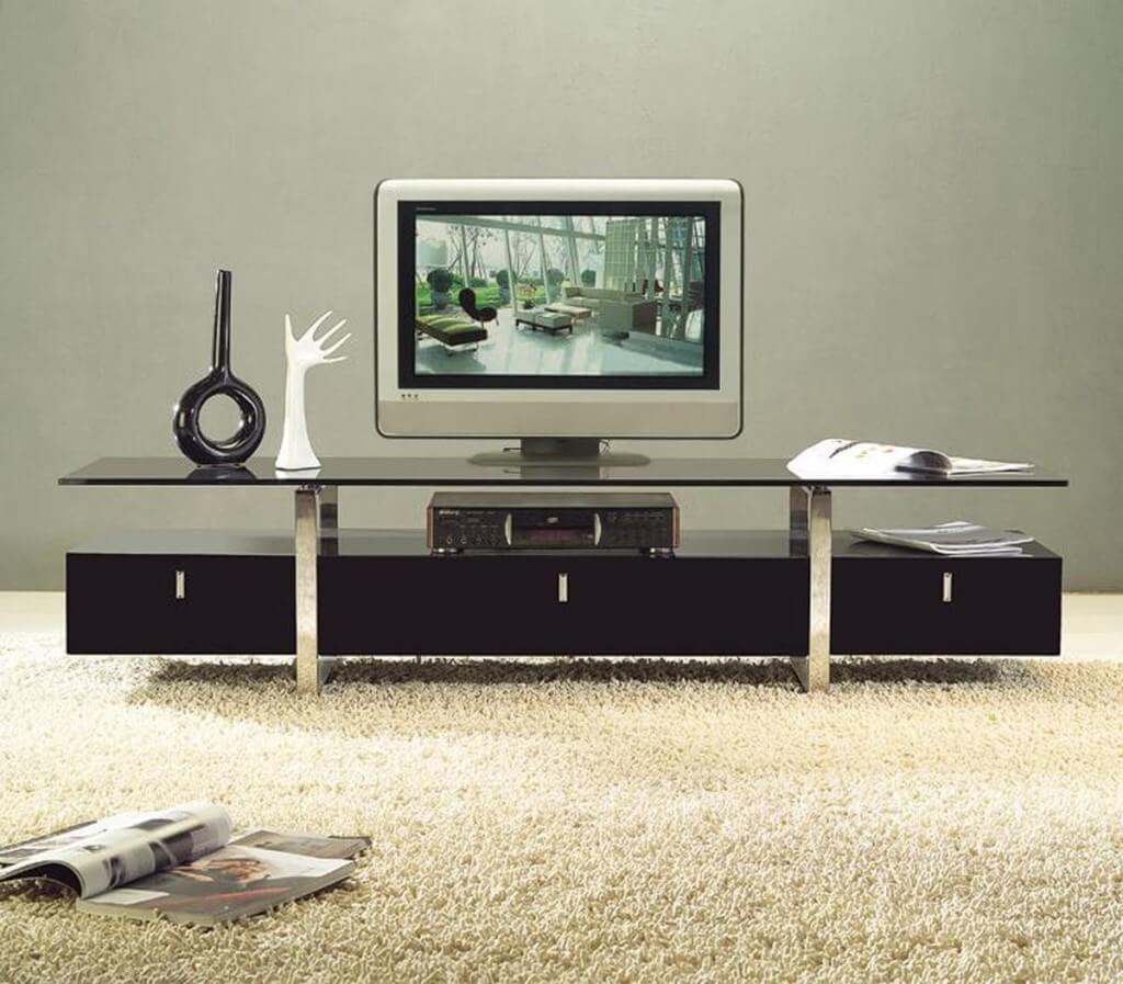 Фото стеклянной тумба для телевизора в интерьере