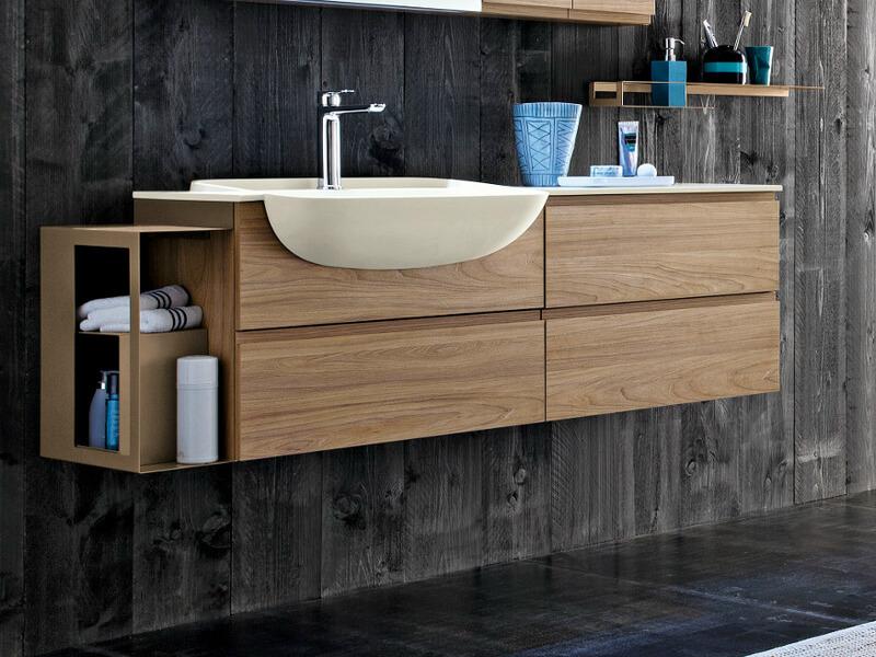 Фото навесной тумбы с раковиной для ванной