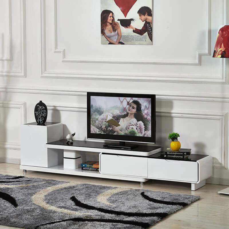 Современная тумба с телевизором в интерьере гостиной