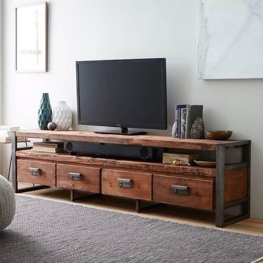 Деревянная тумба под телевизор в Лофт стиле