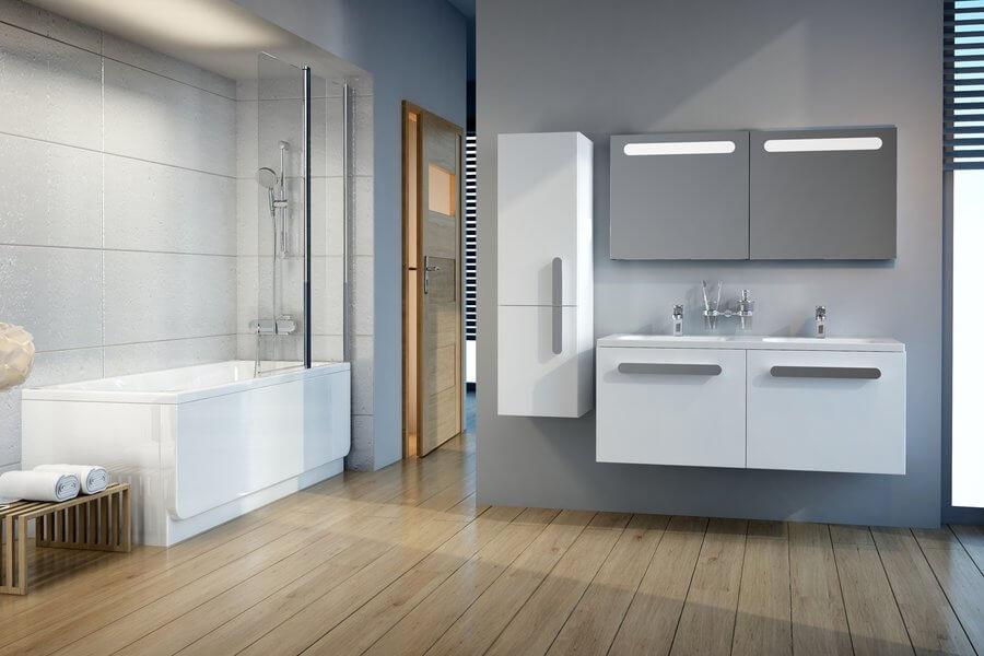 Фото тумбы для ванной с двойной раковиной