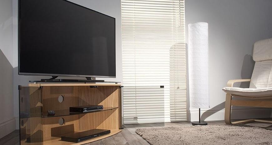 Угловая ТВ тумба в современном стиле