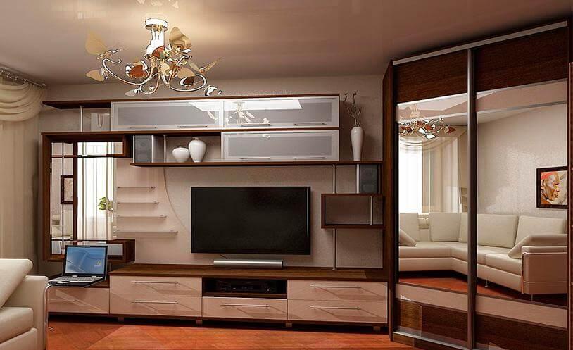 Стенка в гостиную с угловым шкафом купе