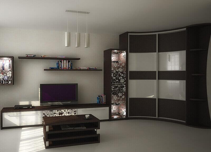 Угловой радиусный шкаф в интерьере гостиной