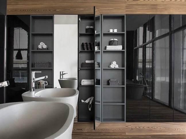 Фото встроенного шкафа в интерьере ванной комнаты