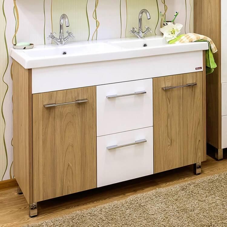 Фото напольной тумбы в ванной с двумя раковинами