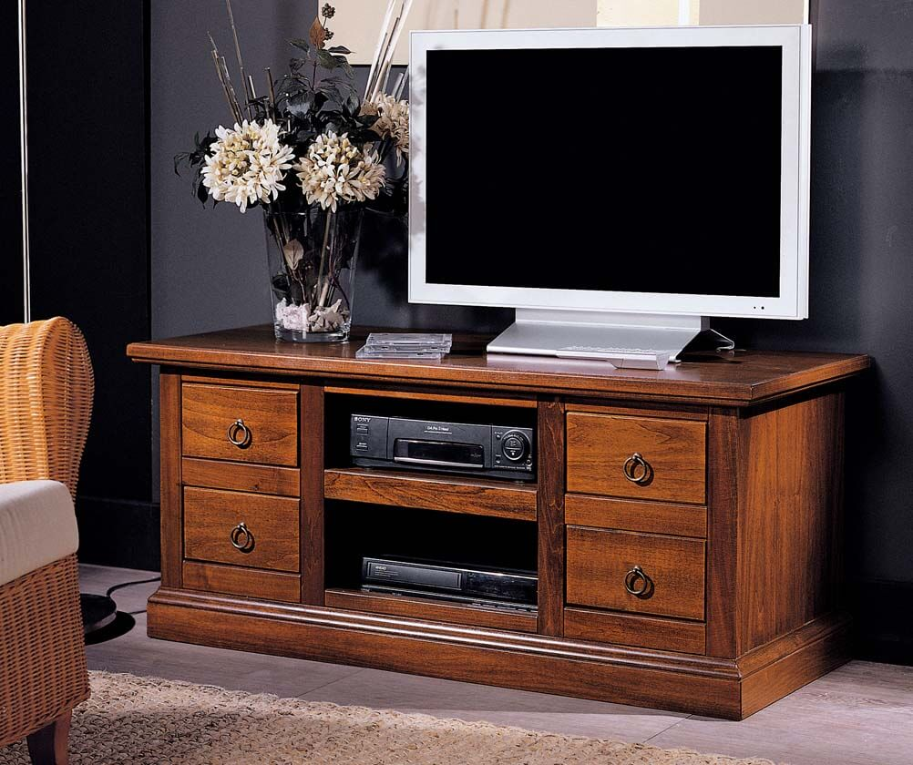 Тумба под телевизор с ящиками в классическом стиле