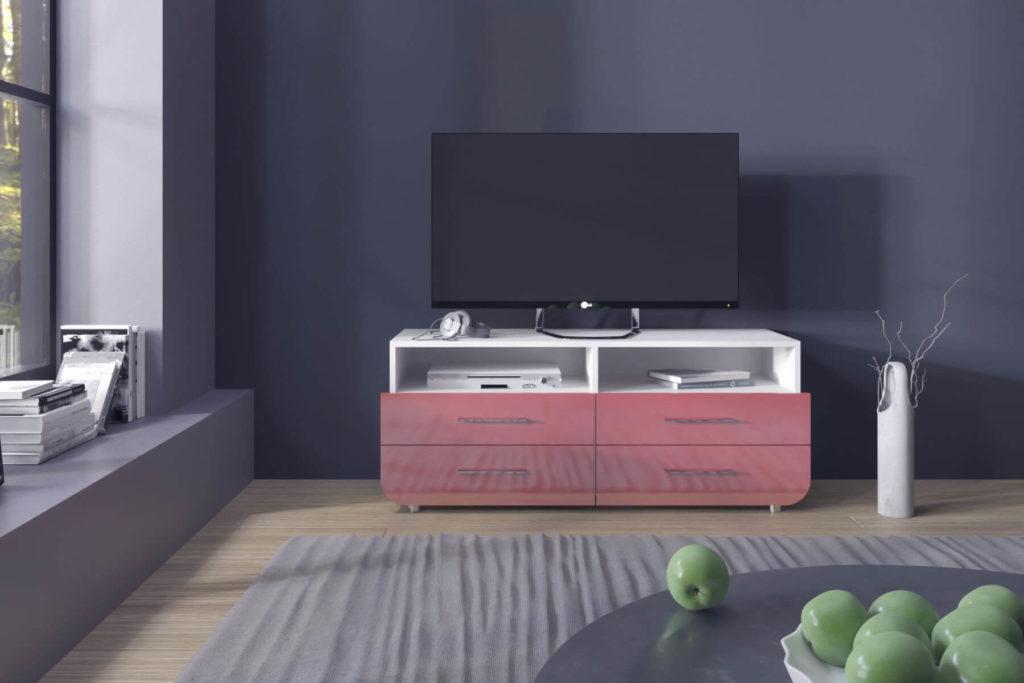 Фото современной ТВ тумбы с ящиками