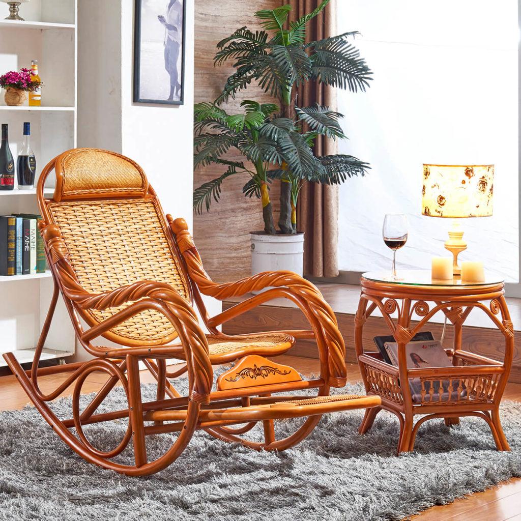 Фото плетеного кресла качалки