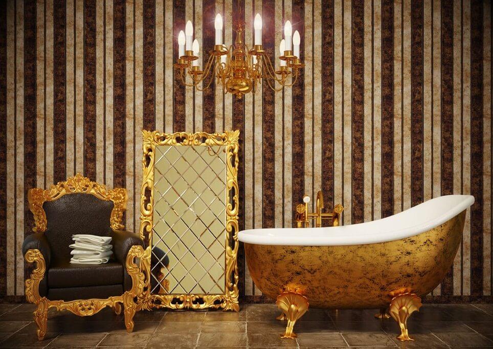 Фото ванной комнаты в классическом стиле с креслом в интерьере