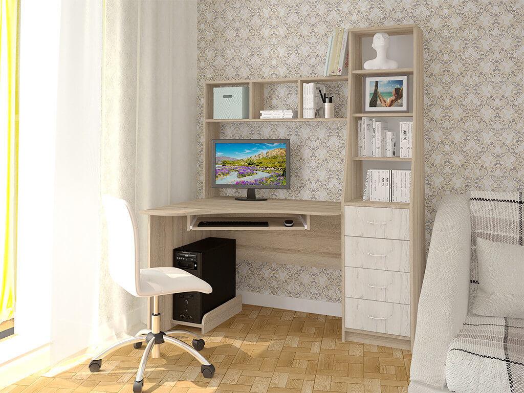 Угловой компьютерный стол с надстройкой на столешнице