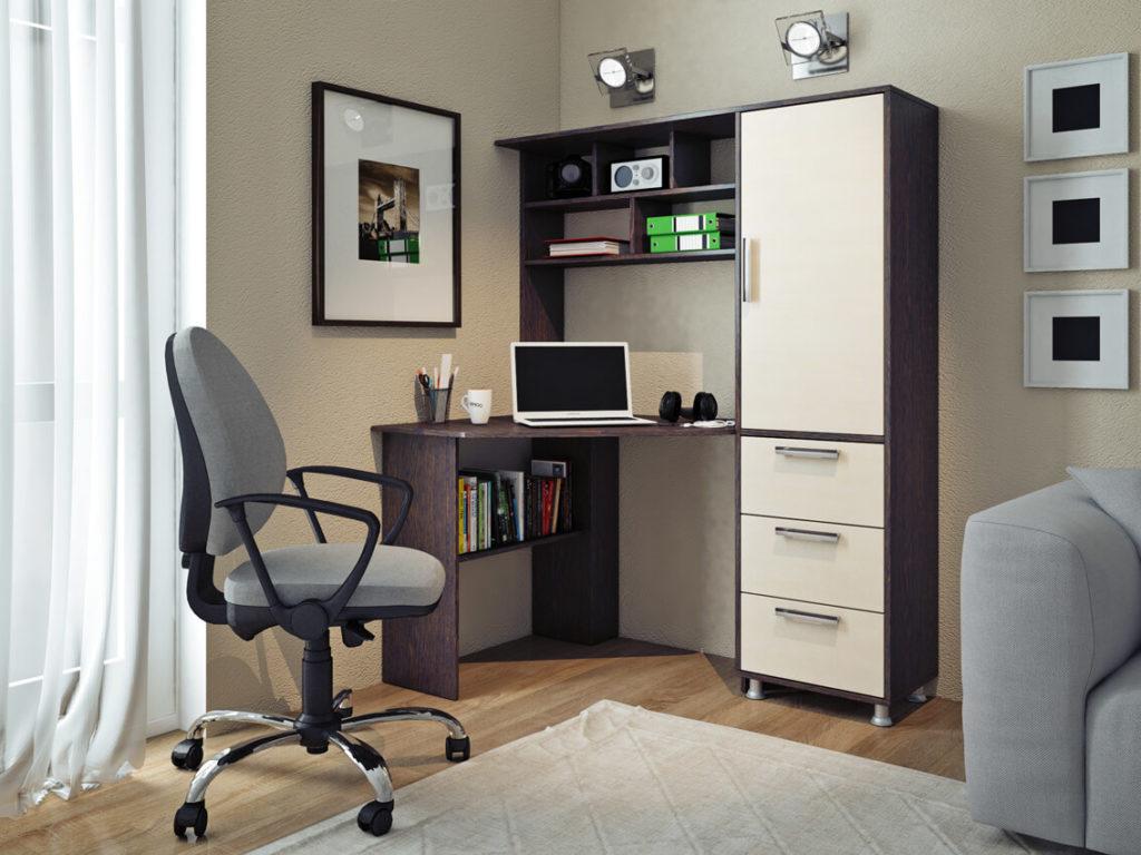 Фото компьютерного стола с полками над столешницей