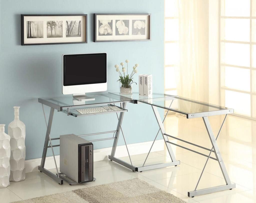 Угловой компьютерный стол со стеклянной столешницей