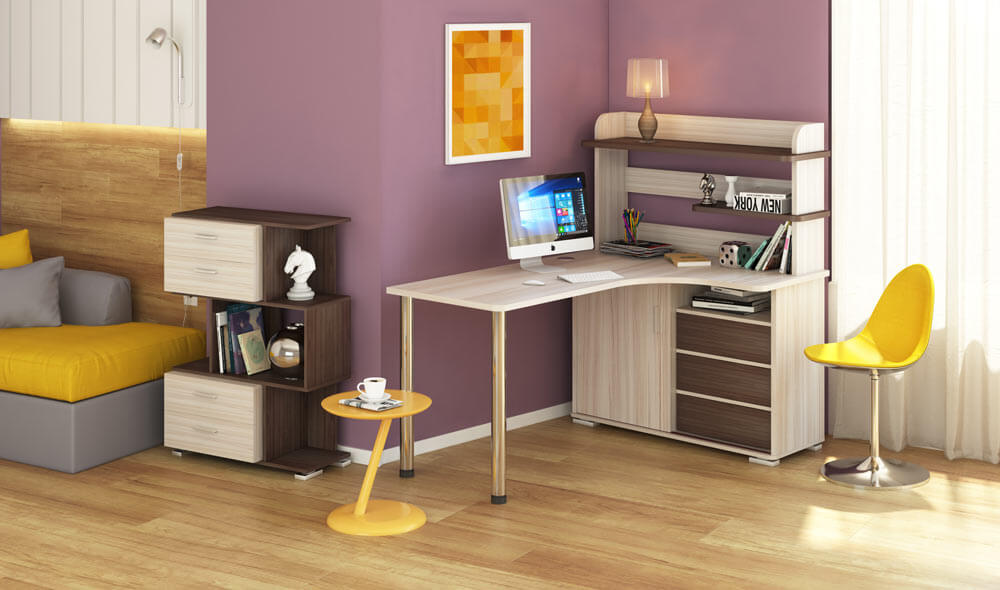 Угловой компьютерный стол со шкафом