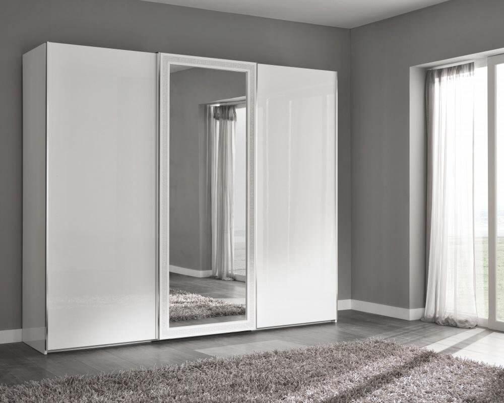 фото белого шкафа купе с зеркальной створкой