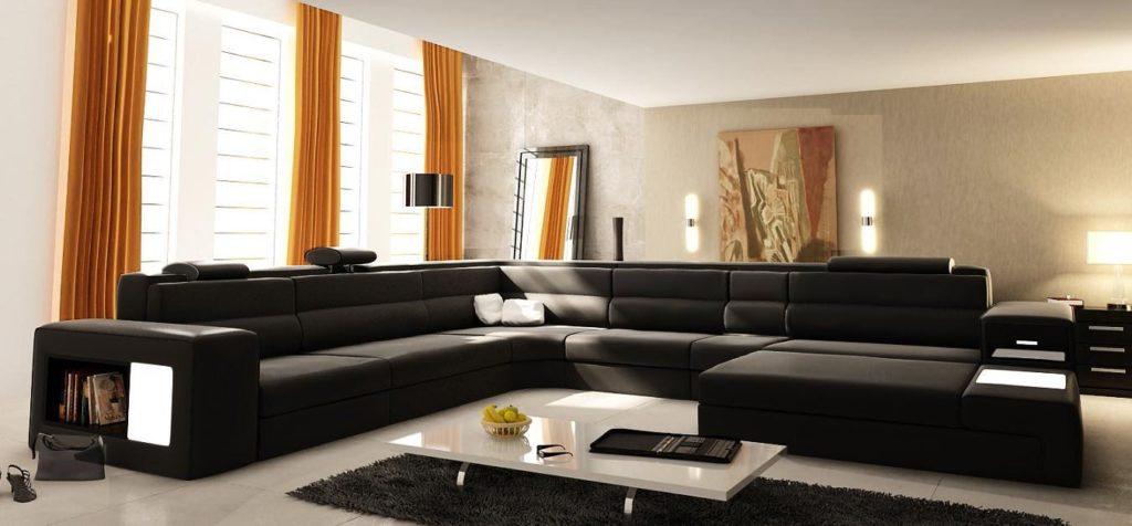 Большой секционный диван П-образной формы