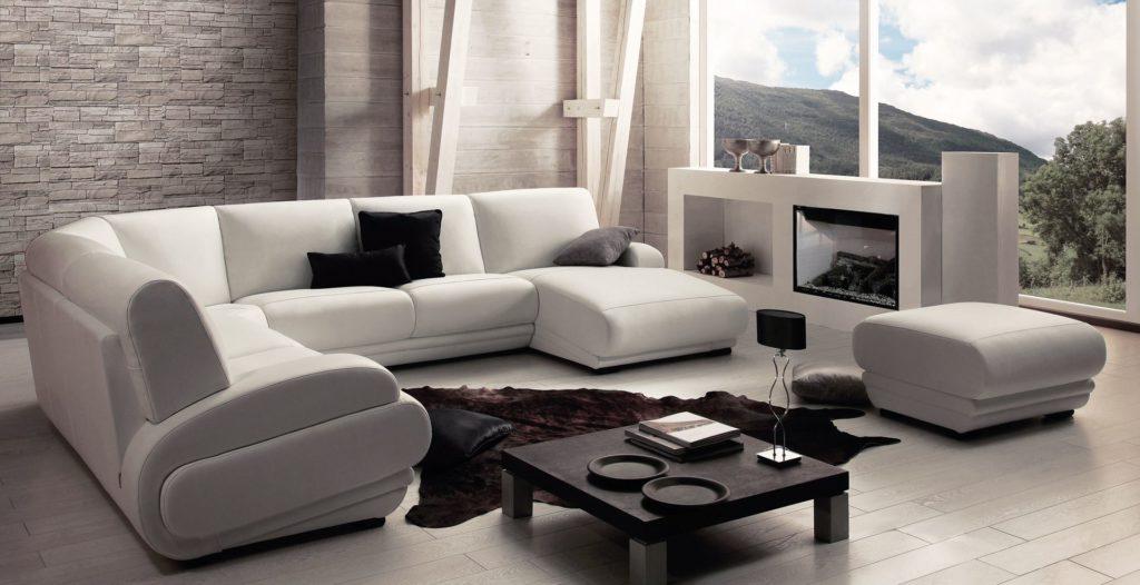 Красивый модульный диван в интерьере гостиной