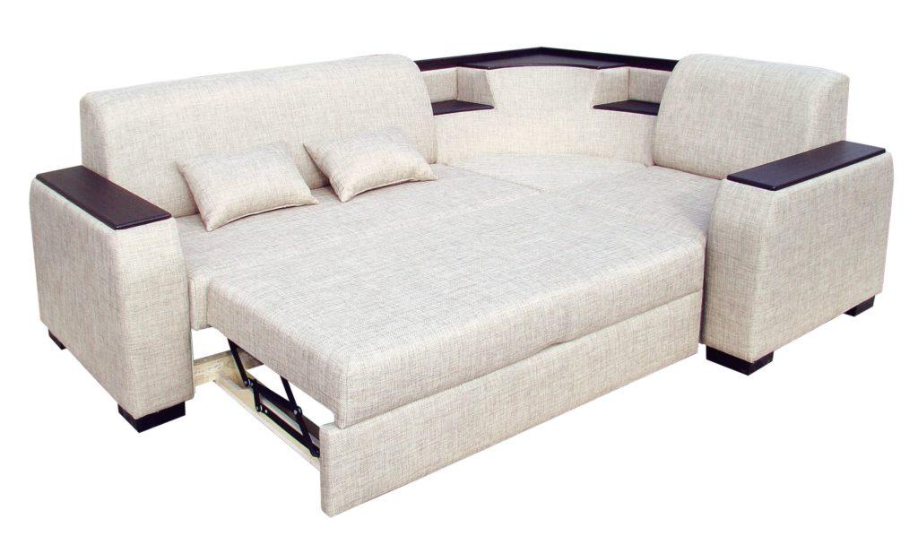 Модульный диван с переставной оттоманкой в разложенном виде