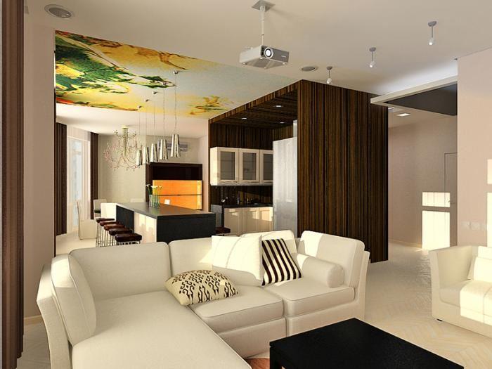 Угловой островной диван отделяющий кухню от гостиной