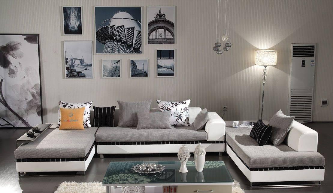 Угловой диван в интерьере гостиной (14)