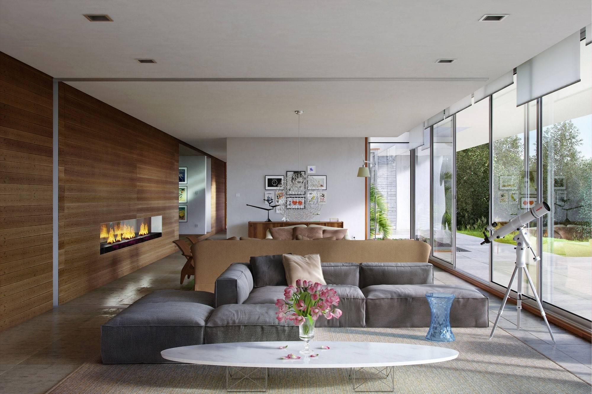 Угловой диван в интерьере гостиной (19)