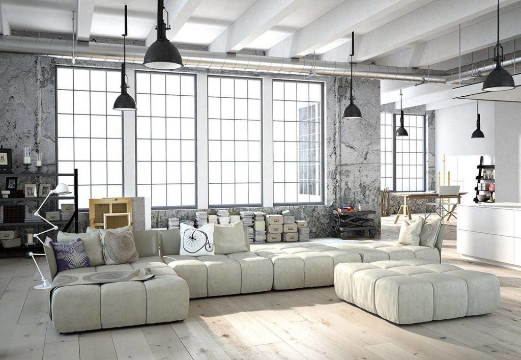 Модульный угловой диван в гостиной