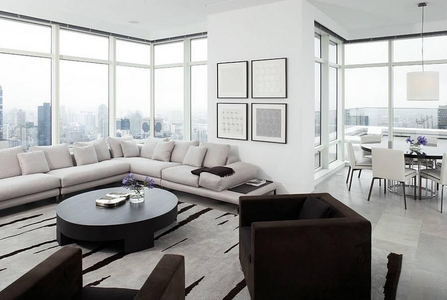 Угловой диван в интерьере гостиной (20)