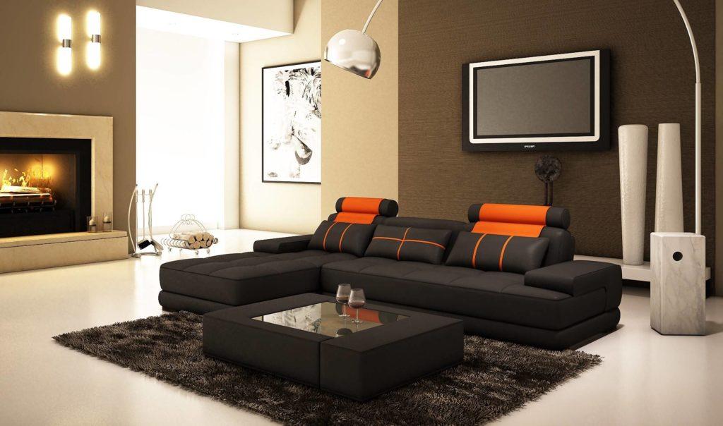 Угловой диван в интерьере гостиной с камином и телевизором