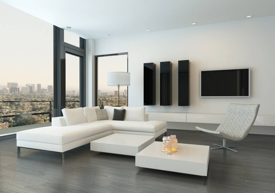 Угловой диван в интерьере гостиной (37)